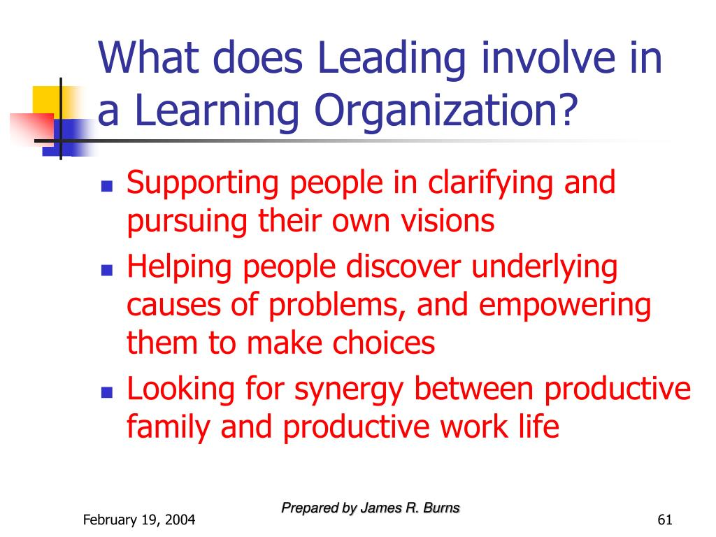 What does Leading involve in a Learning Organization?
