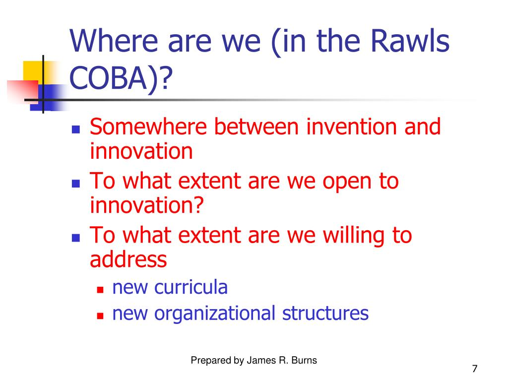 Where are we (in the Rawls COBA)?