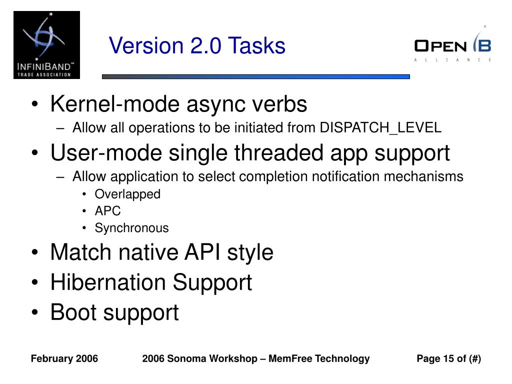 Version 2.0 Tasks