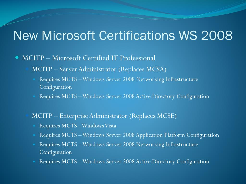 New Microsoft Certifications WS 2008