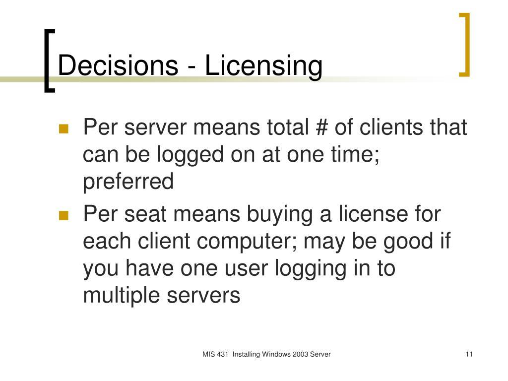 Decisions - Licensing