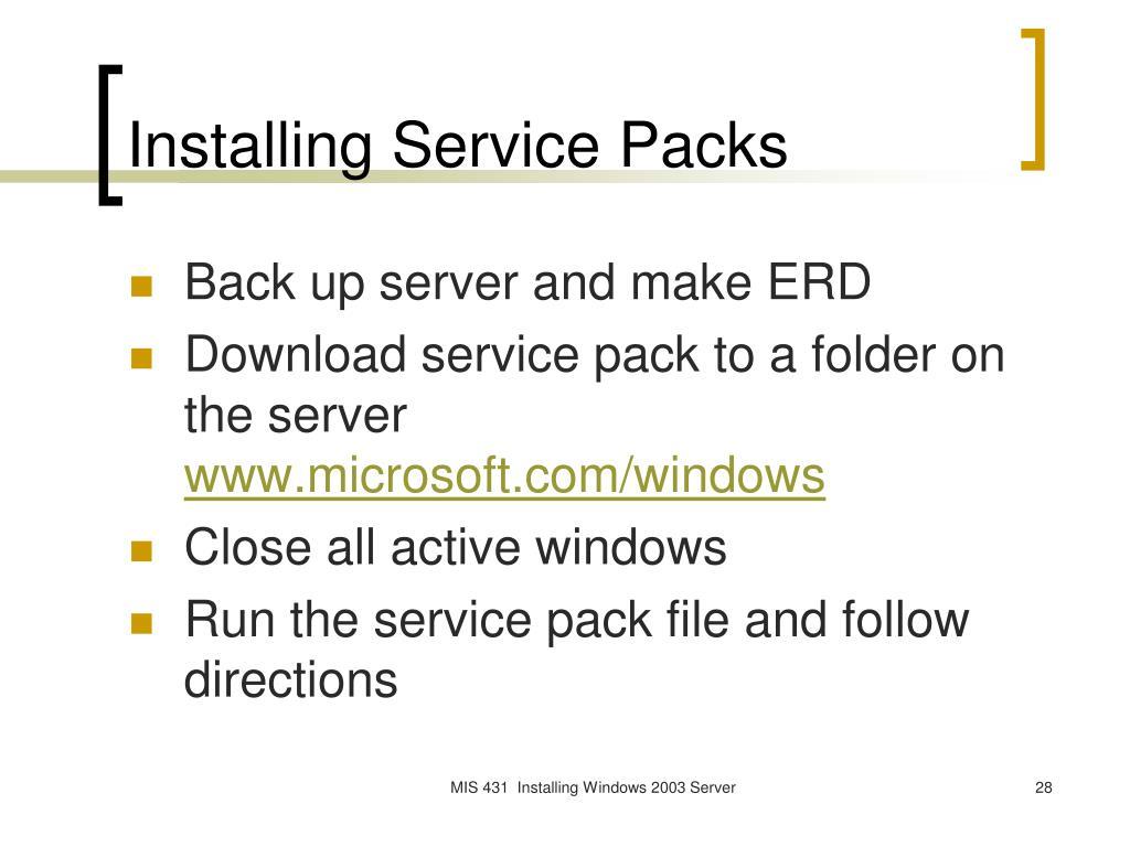 Installing Service Packs