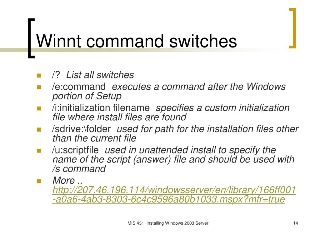 Winnt command switches