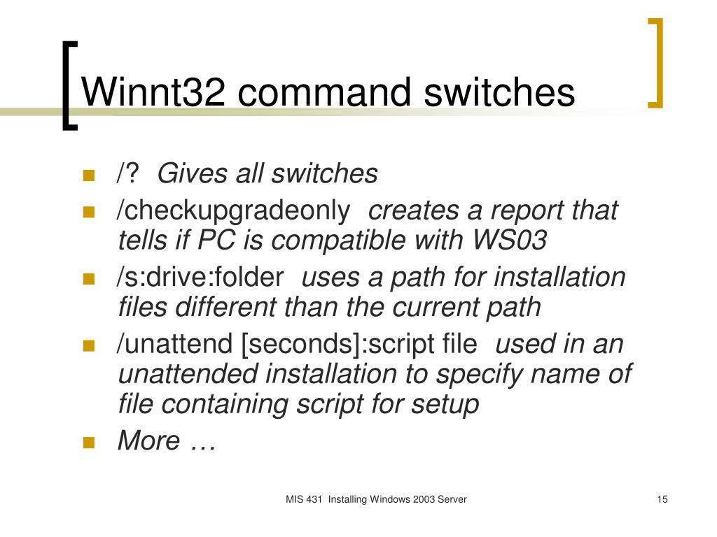 Winnt32 command switches