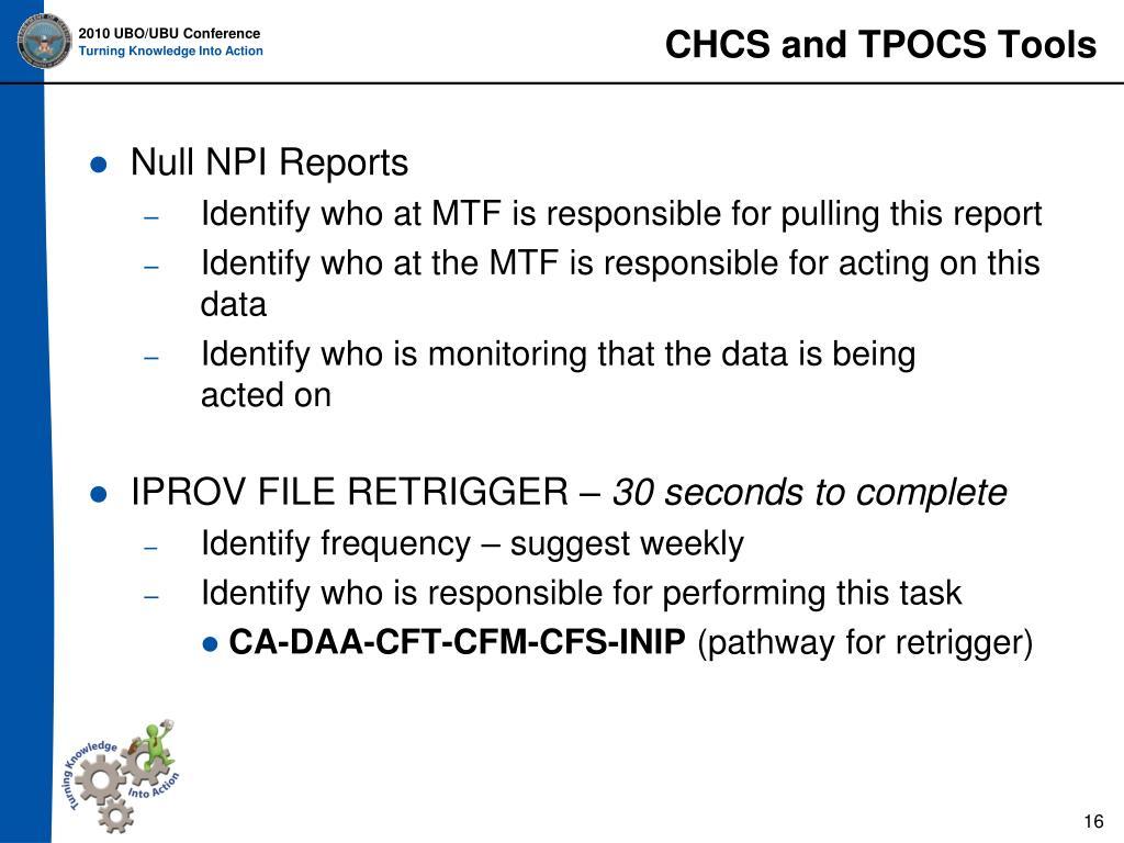 CHCS and TPOCS Tools