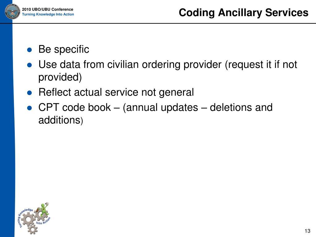 Coding Ancillary Services