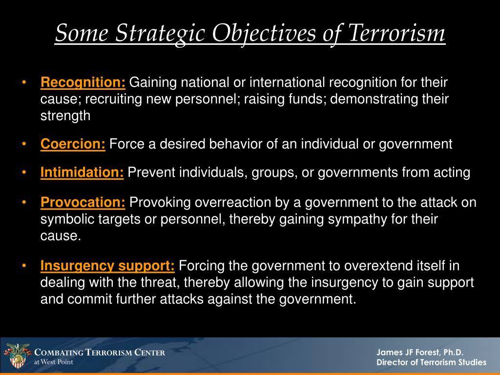 Some Strategic Objectives of Terrorism