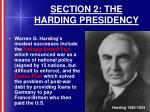 section 2 the harding presidency