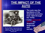 the impact of the auto
