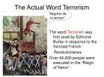 the actual word terrorism