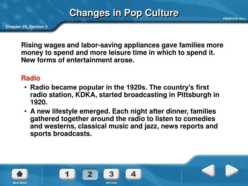 Changes in Pop Culture