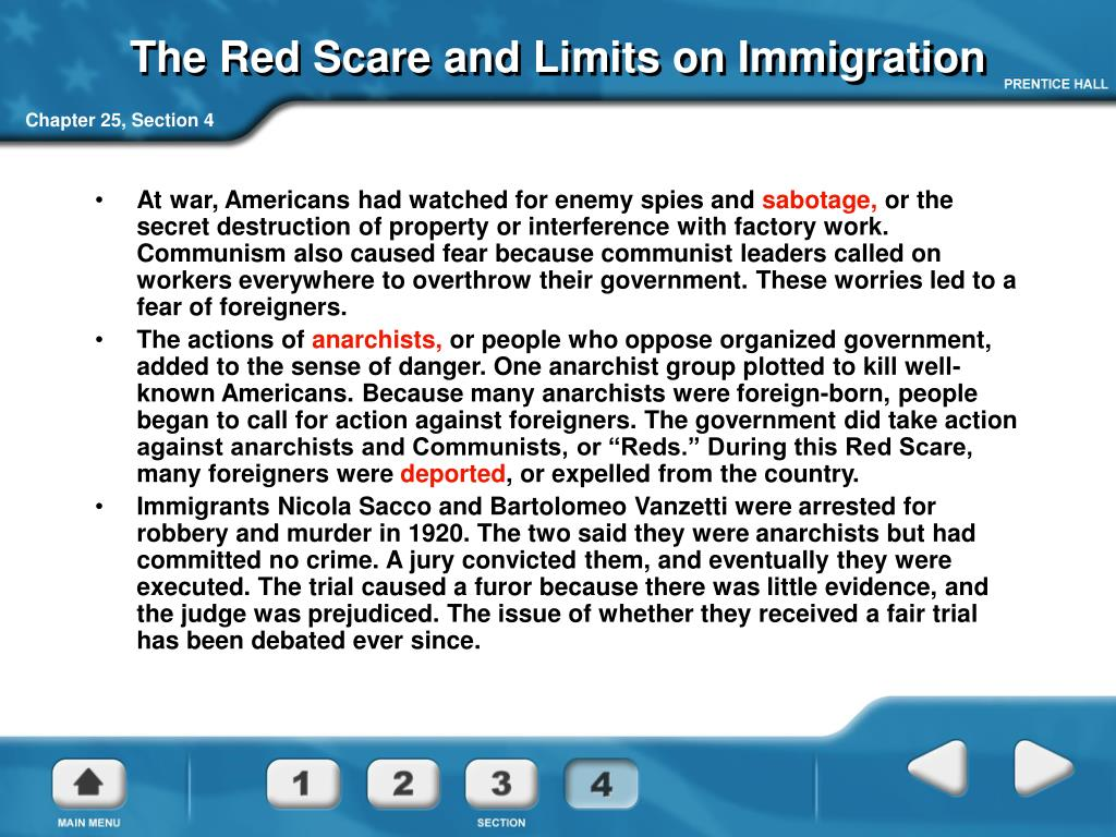 The Red Scare and Limits on Immigration