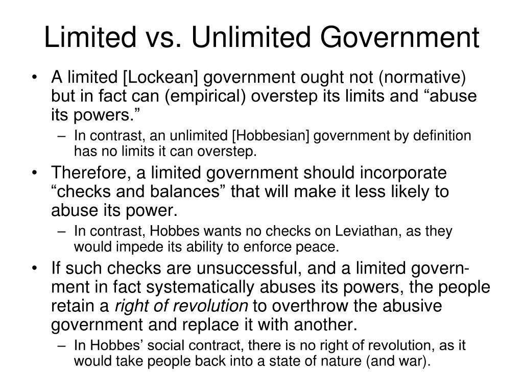 Limited vs. Unlimited Government