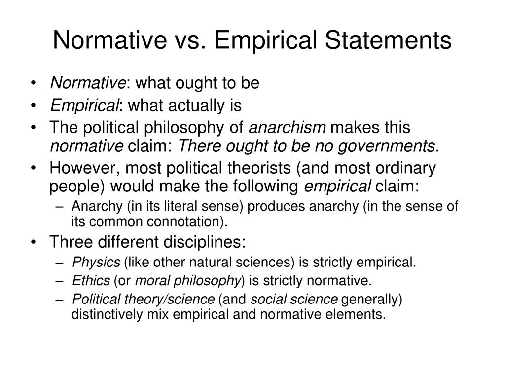 Normative vs. Empirical Statements