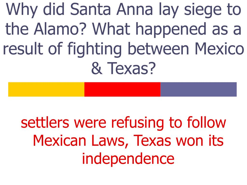 Why did Santa Anna lay siege to the Alamo? What happened as a result of fighting between Mexico & Texas?