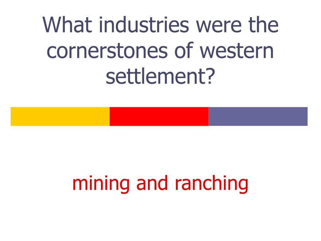 What industries were the cornerstones of western settlement?