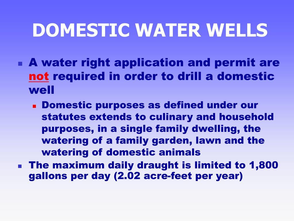 DOMESTIC WATER WELLS