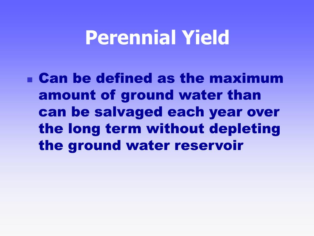 Perennial Yield