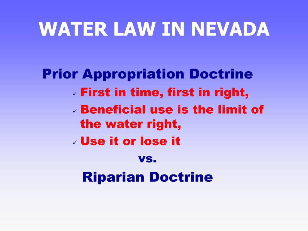 WATER LAW IN NEVADA
