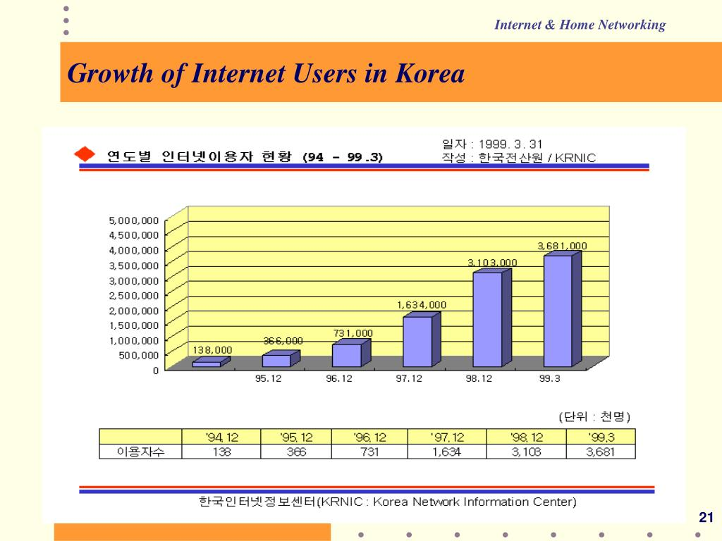 Growth of Internet Users in Korea