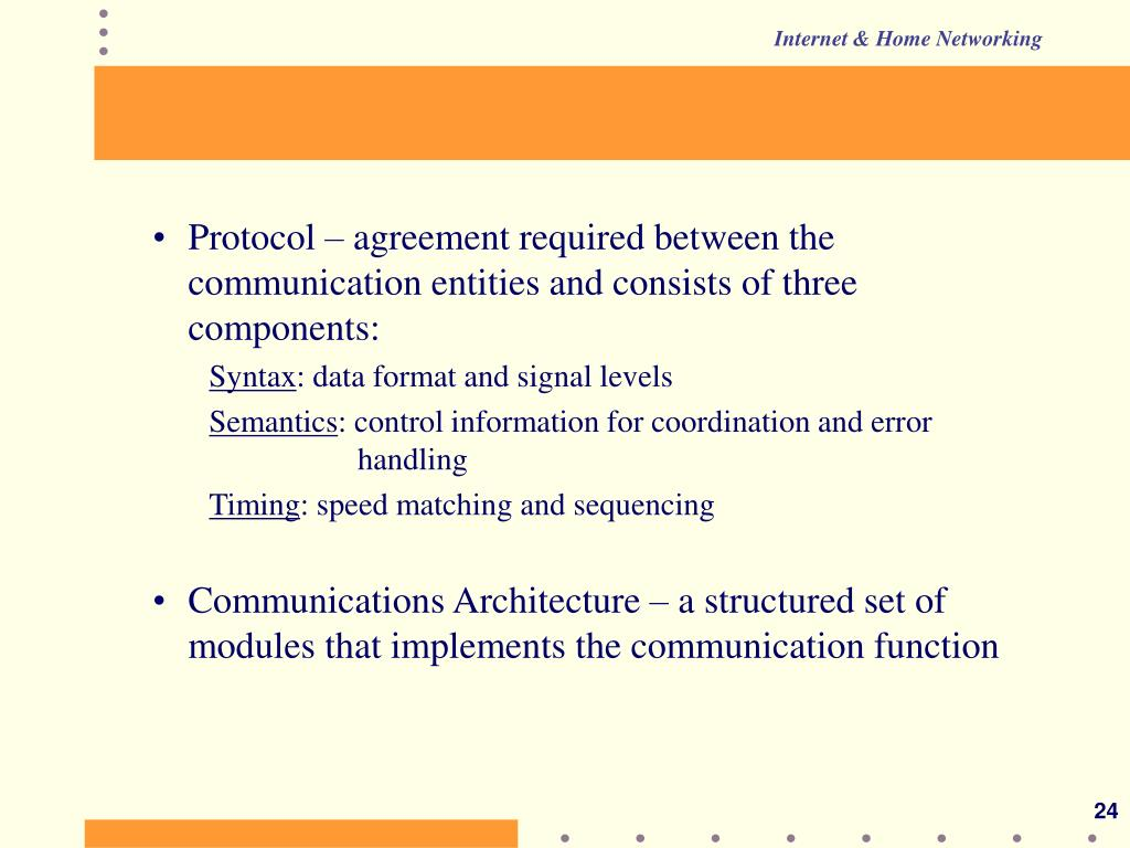 Protocol – agreement required between the communication entities and consists of three components: