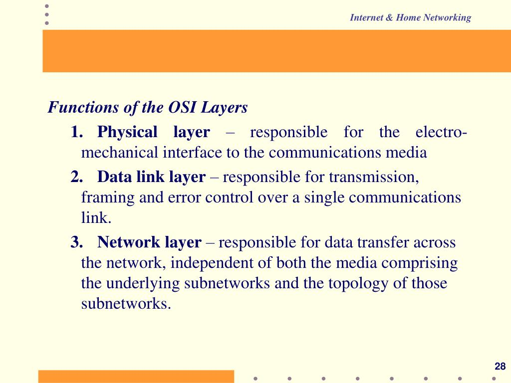 Functions of the OSI Layers