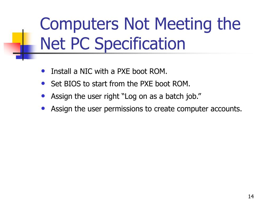 Computers Not Meeting the Net PC Specification