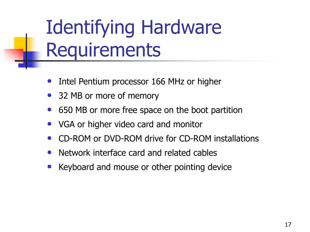 Identifying Hardware Requirements