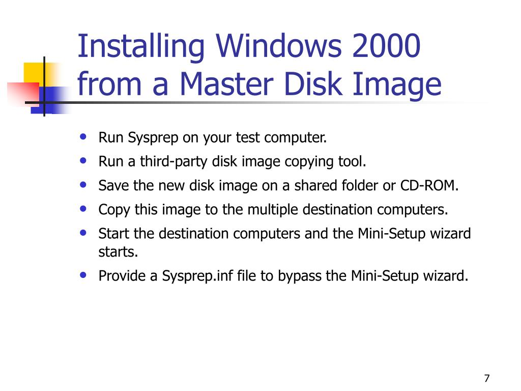 Installing Windows 2000 from a Master Disk Image