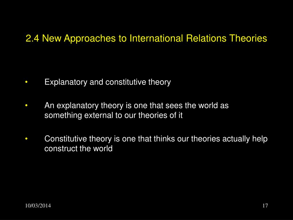 2.4 New Approaches to International Relations Theories
