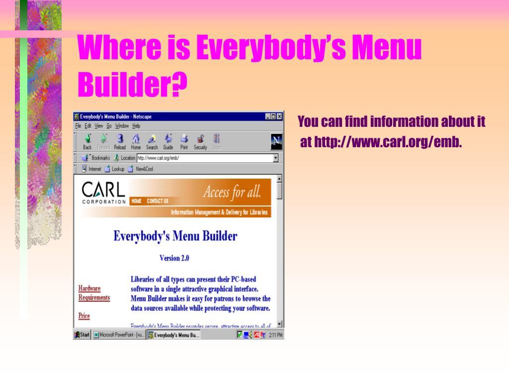 Where is Everybody's Menu Builder?