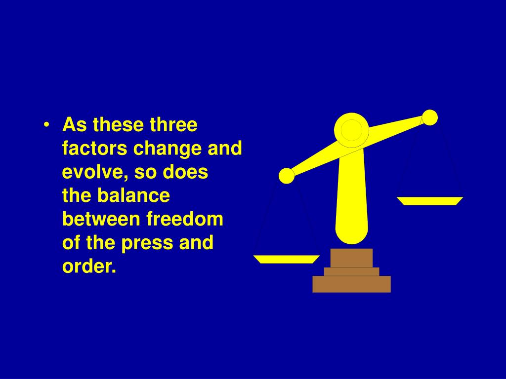 As these three factors change and evolve, so does the balance between freedom of the press and order.
