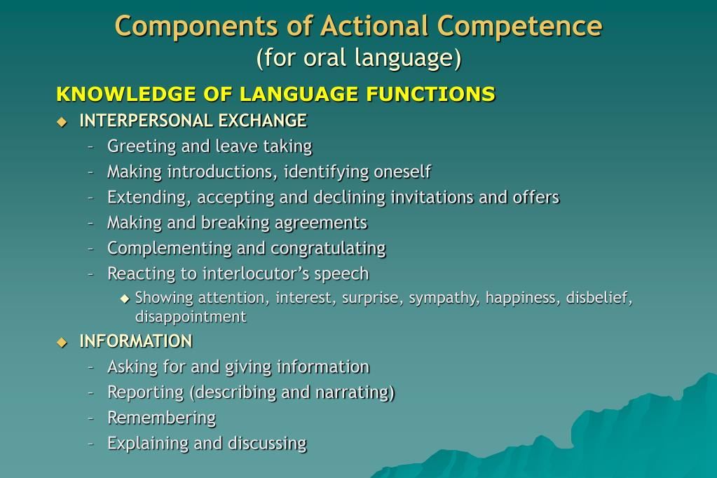 Components of Actional Competence