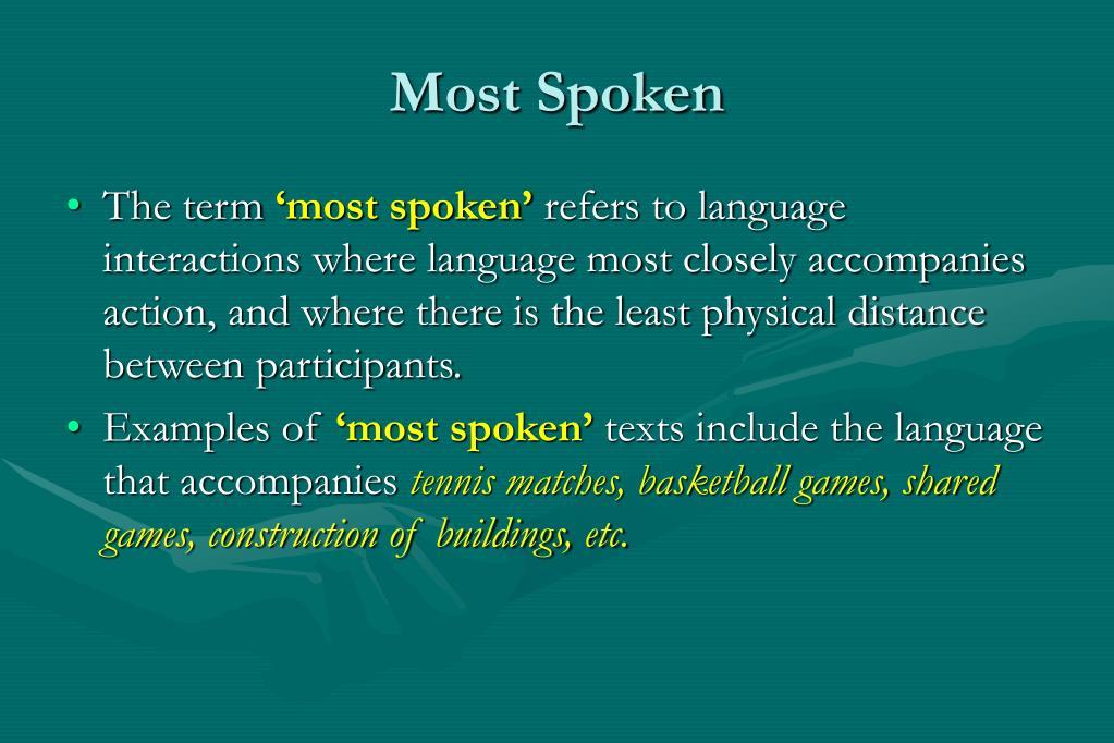 Most Spoken
