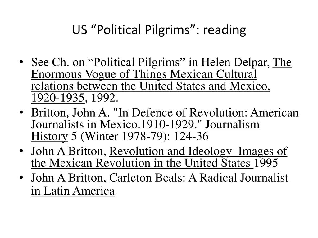 """US """"Political Pilgrims"""": reading"""