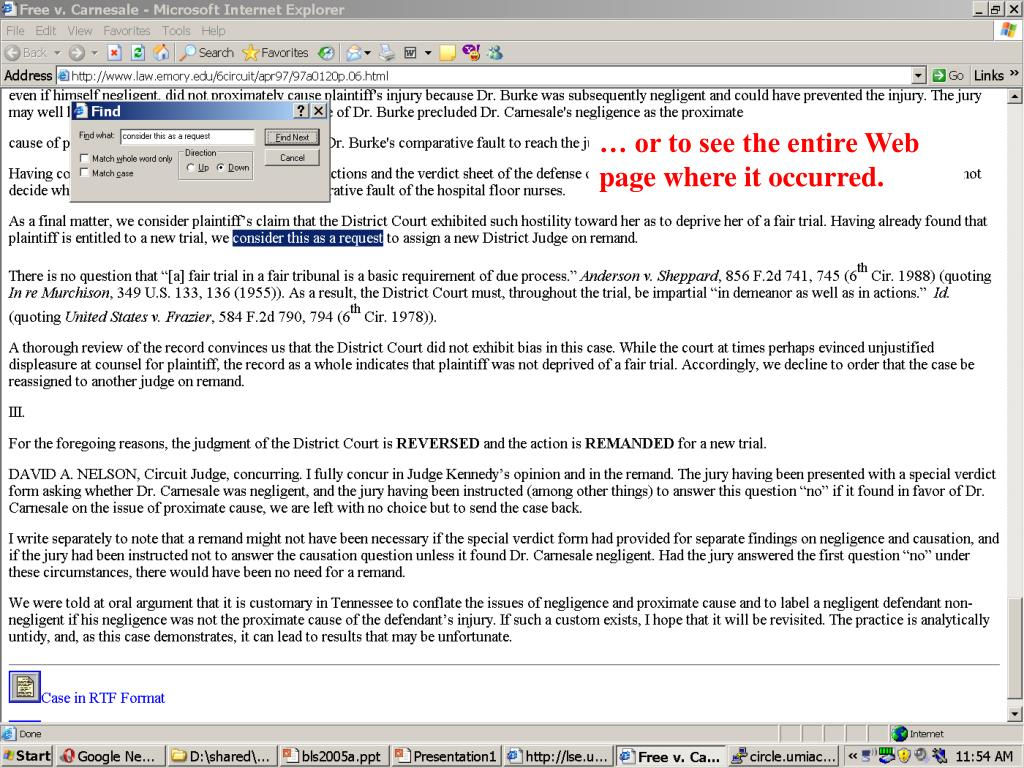 … or to see the entire Web page where it occurred.