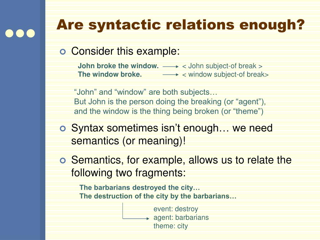 Are syntactic relations enough?