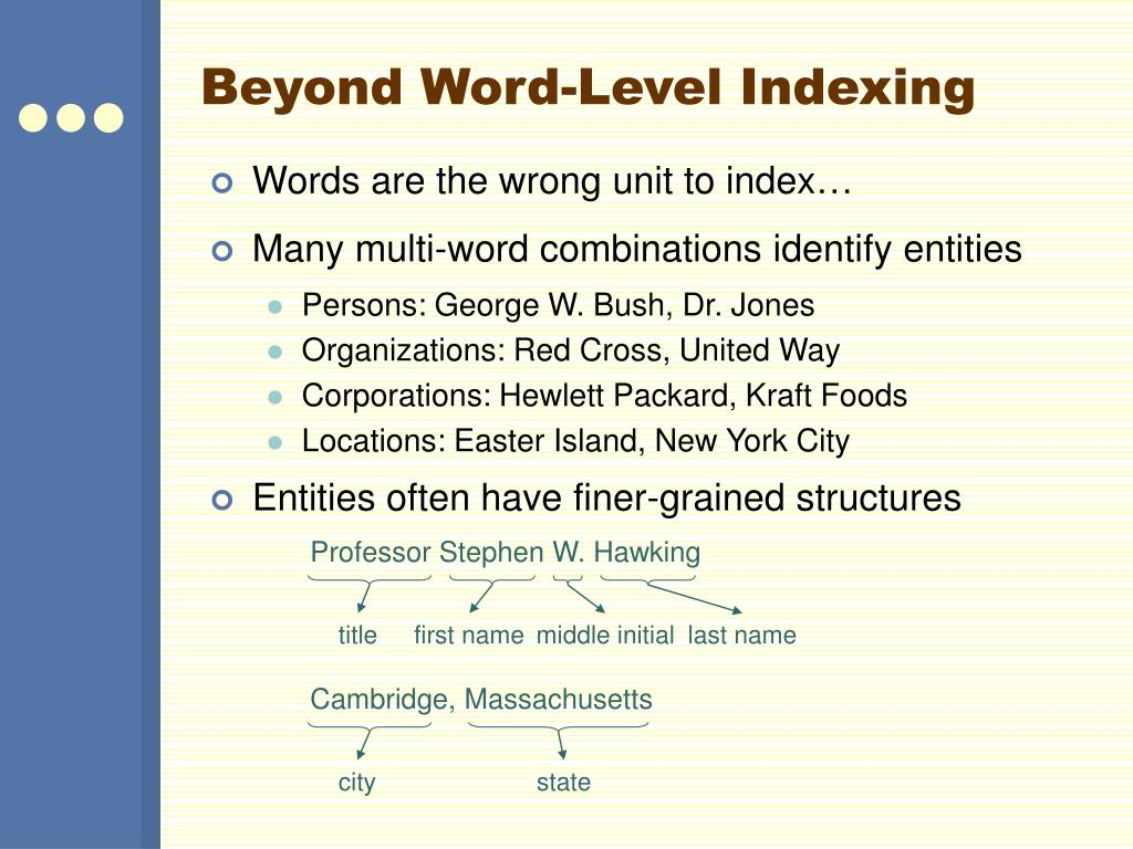 Beyond Word-Level Indexing