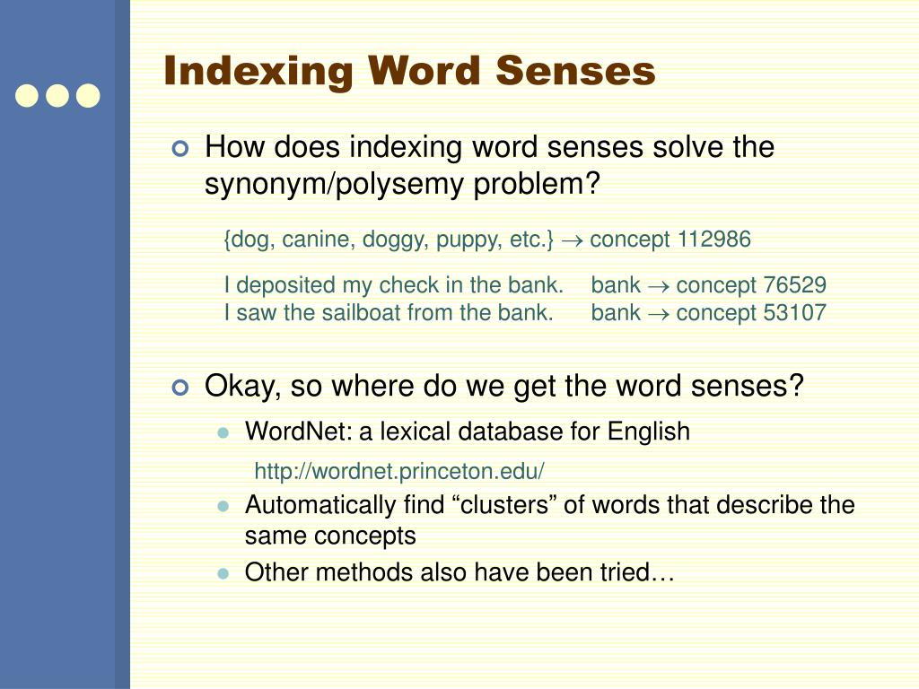 Indexing Word Senses