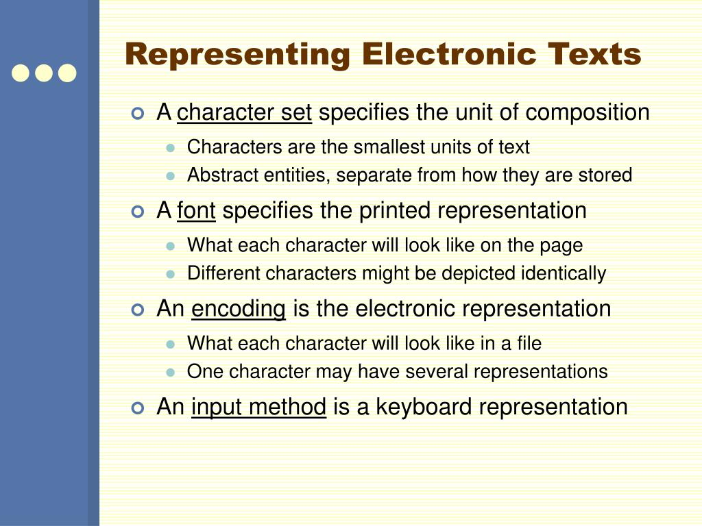 Representing Electronic Texts