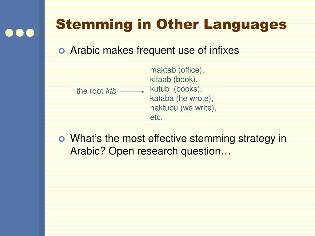 Stemming in Other Languages