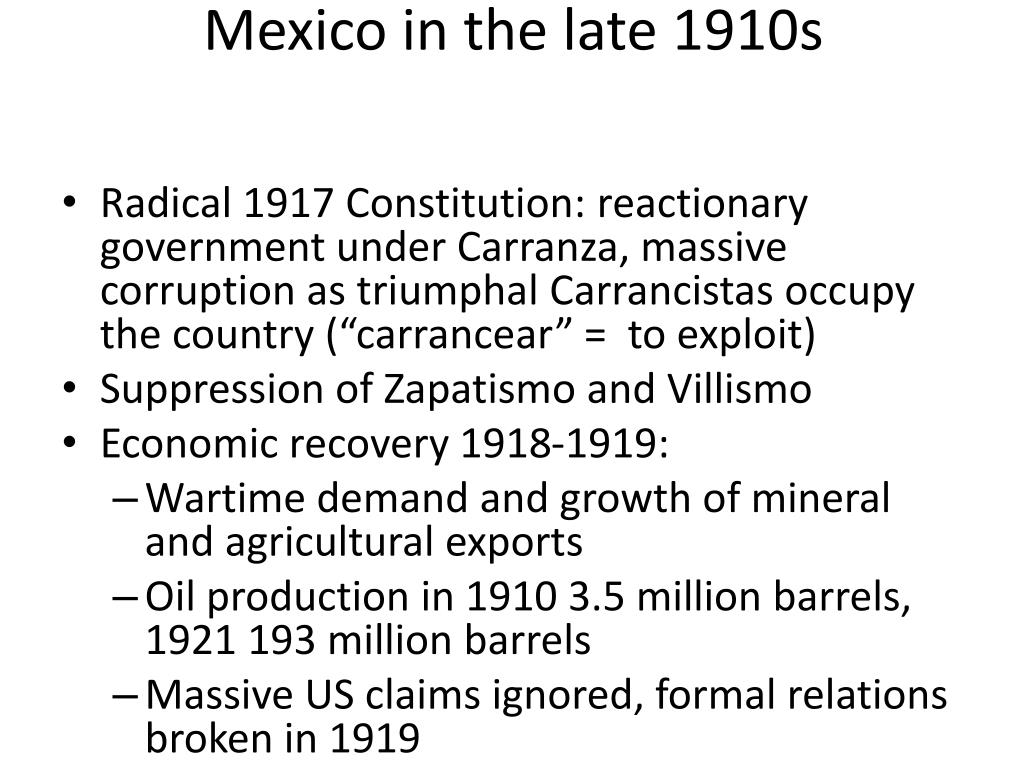 Mexico in the late 1910s