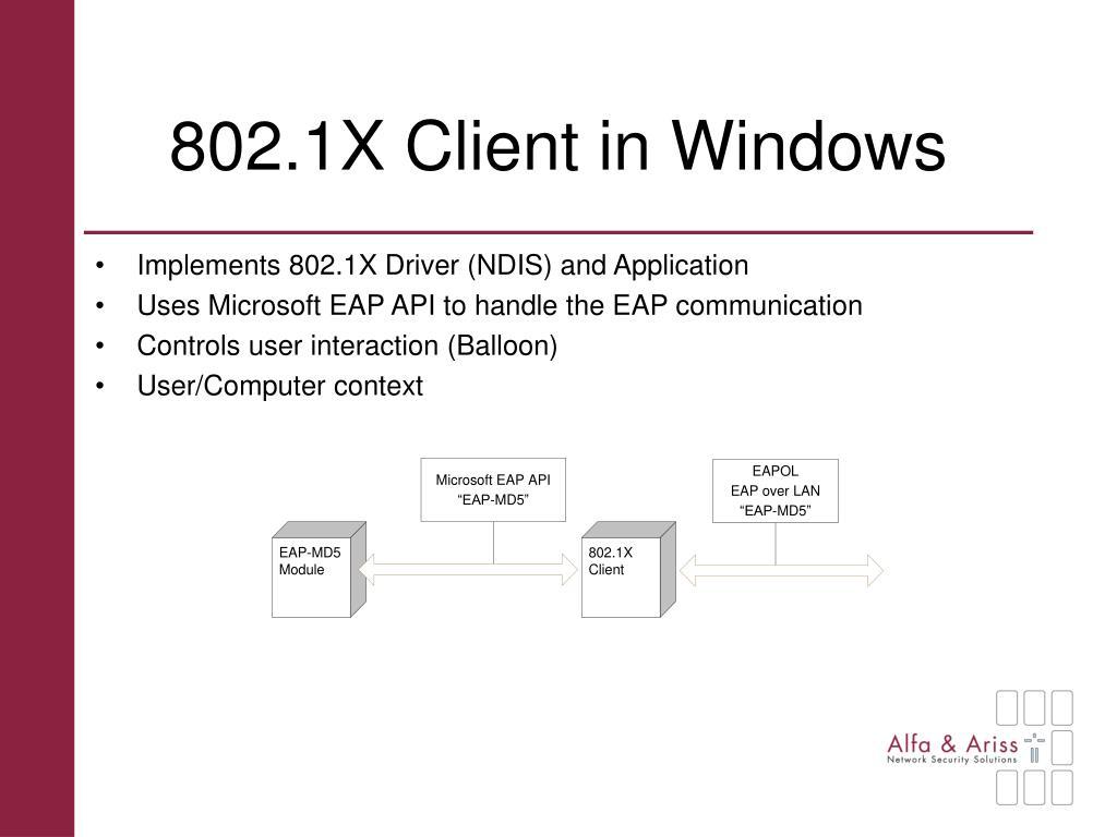 802.1X Client in Windows