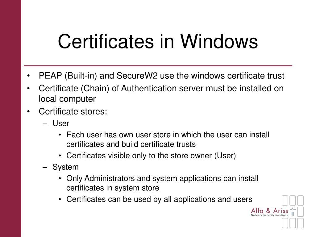 Certificates in Windows