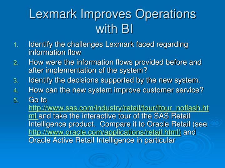Lexmark Improves Operations