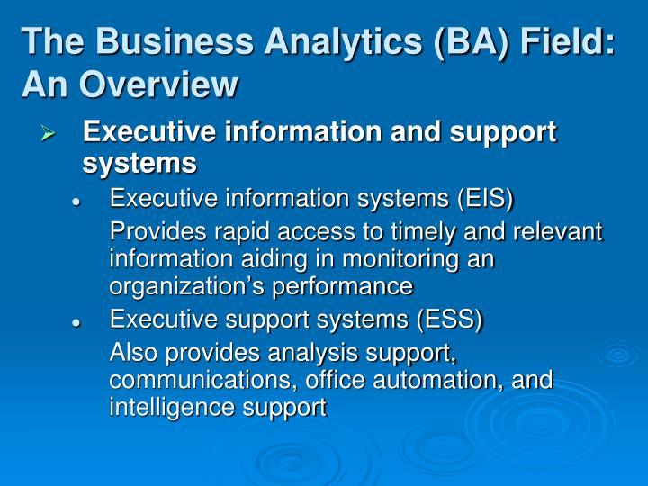 The Business Analytics (BA) Field: An Overview