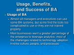 usage benefits and success of ba