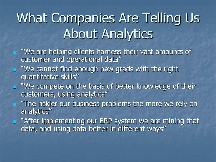 What Companies Are Telling Us About Analytics