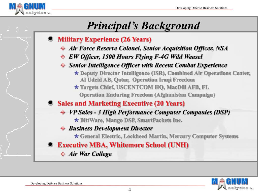 Principal's Background
