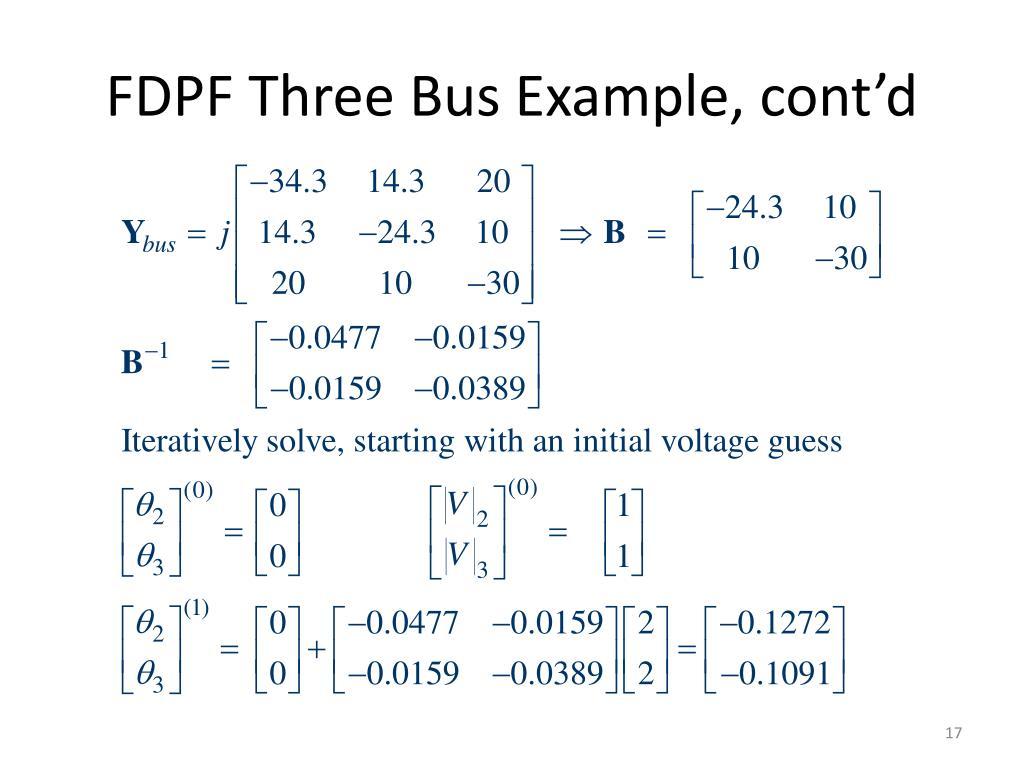 FDPF Three Bus Example, cont'd